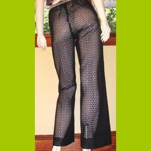 🖤VTG Wicked Black Crochet Peek-a boo GO GO Pants